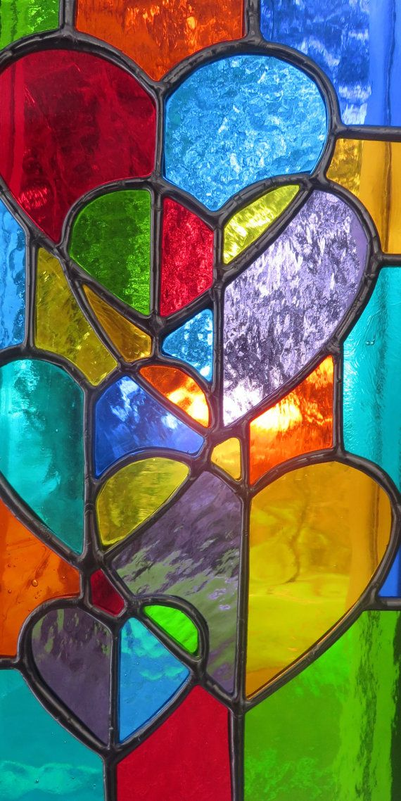 Rainbow Love Stunning Stained Glass Hearts Suncatcher Panel