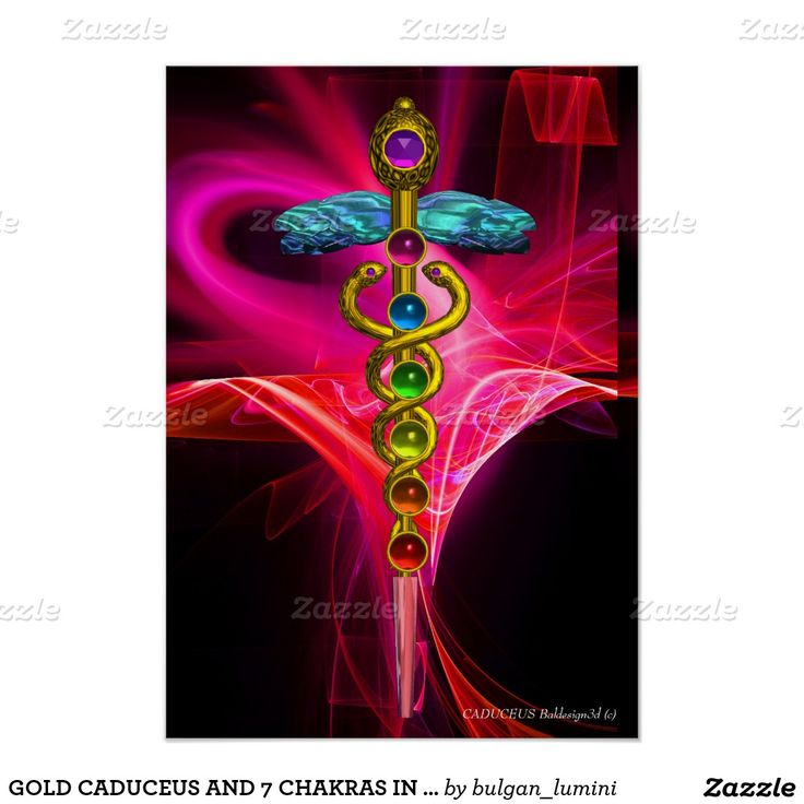GOLD CADUCEUS AND 7 CHAKRAS IN PINK FUCHSIA WAVES POSTER