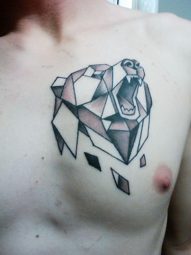 Geometric bear by Jimmy Bell Mission Tattoo Santa Barbara.