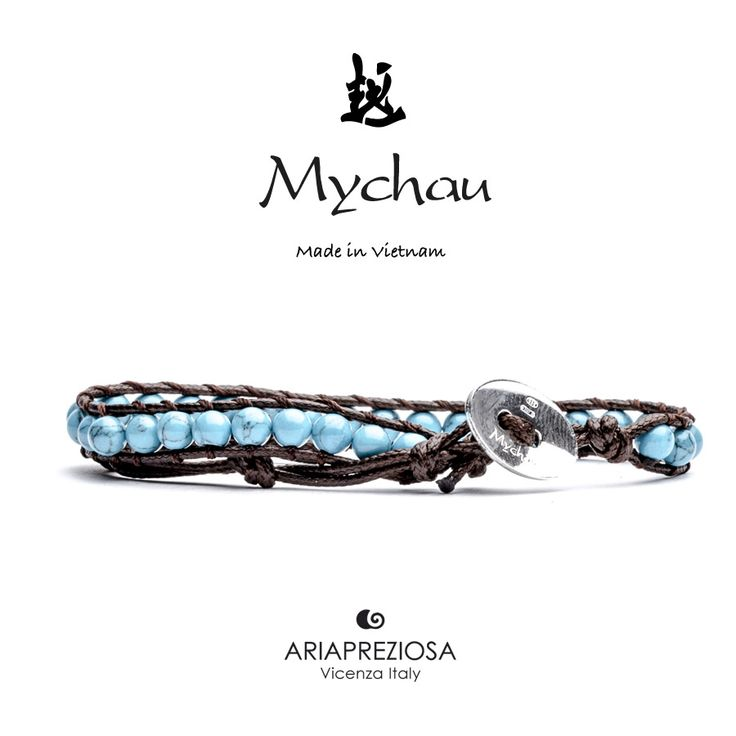 Mychau - Bracciale Vietnam originale realizzato con Turchese naturale su base bracciale col. Testa di Moro