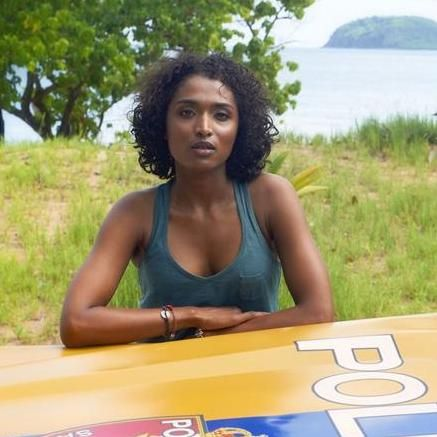 """Sara Martins as Camille Bordey in BBC1's """"Death in Paradise"""""""