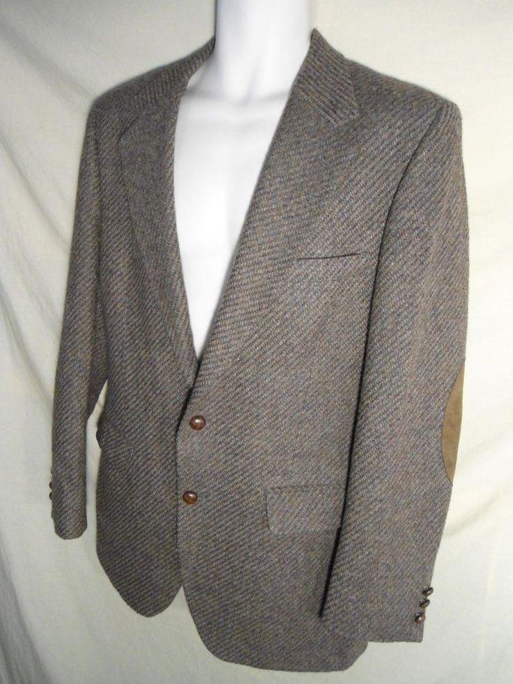 VINTAGE Men's Tweed Wool Sport Coat w/ Leather Elbow