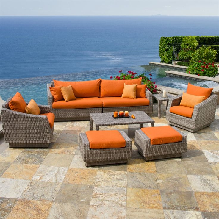 RST Brands Cannes Sofa And Club Chair Seating Group, Orange