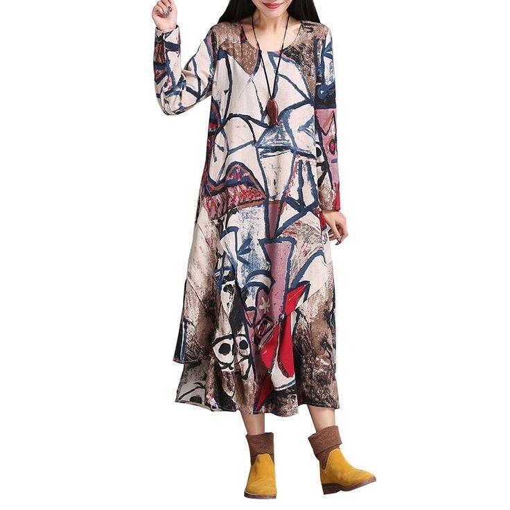 Купить товар2016 Осень Женщины Одеваются Плюс Размер Нерегулярные хем Длинные Платья Макси Старинные Хлопок Белье Свадебные Платья Мантия Платья (Без шейный платок) в категории  на AliExpress.    100% Brand New и Высокое Качество  п%D