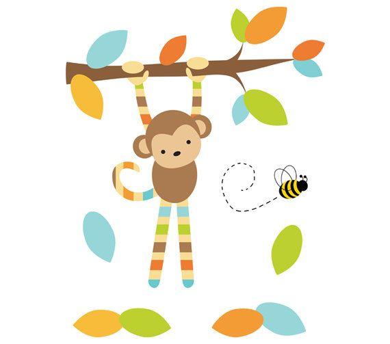 SAFARI NURSERY DECAL Hanging Monkey Wall Art Mural Jungle Animal Stickers Room Decor Baby Boy Shower Gift Decorations Childrens Kids Bedroom #decampstudios