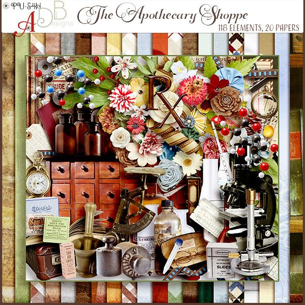 """Digital Scrapbooking Studio The Apothecary Shoppe Page Kit - The Apothecary Shoppe is a mix of vintage and new ….inspired by a request: """"an adult-themed Pharmacy kit…Chemistry kit…Science kit…Doctor's kit. I would like to see the """"Rx"""" symbol that pharmacists use and some molecular models…White lab coats, beakers and test tubes, Bunsen burners, periodic table, bottles filled with different pills,"""