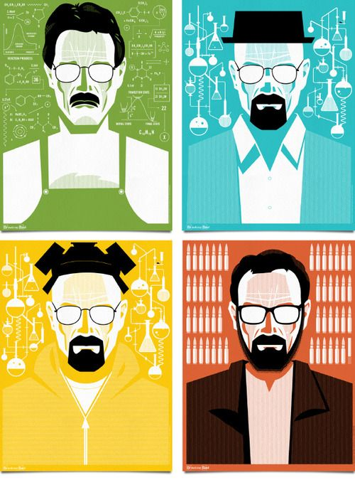 Gorgeous minimalist Breaking Bad posters by graphic designer Ty Mattson, with a hint of Saul Bass.