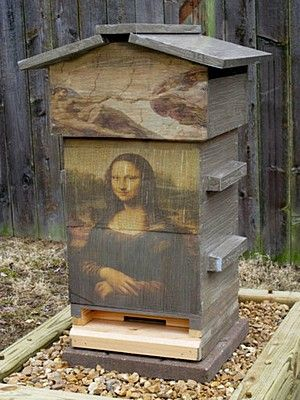 ≗ The Bee's Reverie ≗ Mona Lisa painted Box Bee Hive