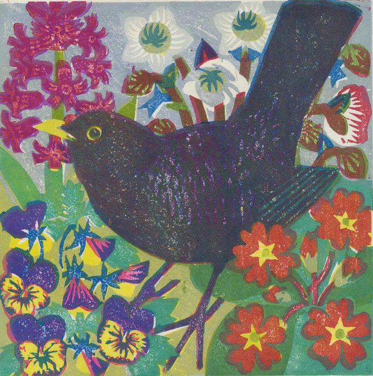 """Spring Blackbird"" by Matt Underwood (woodblock print)"