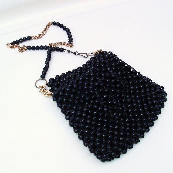 Vintage Italian Handbag 60s Black Beaded Purse by WhimzyThyme