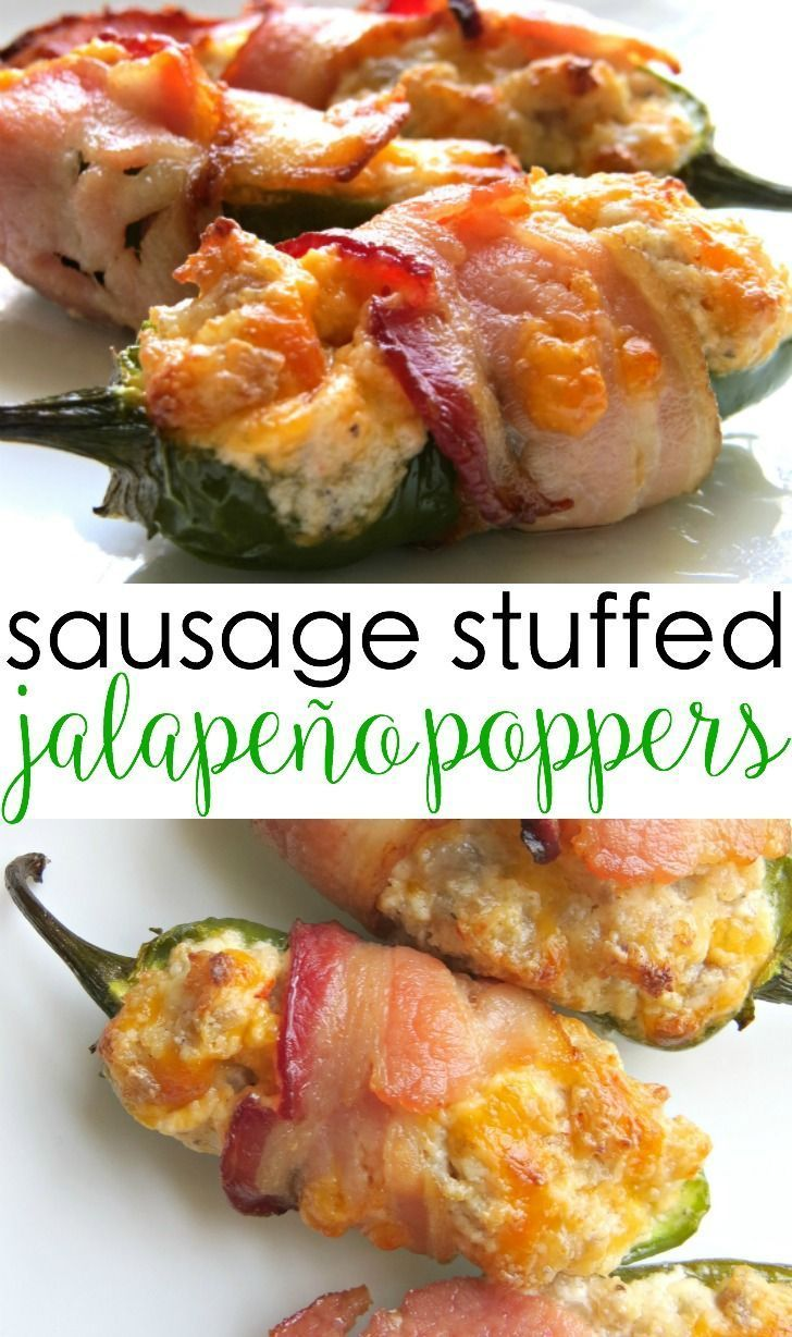 These best ever bacon wrapped jalapeo poppers are insanely delicious! They are stuffed with sausage and cream cheese and wrapped in bacon and melted cheese. Great for tailgating, too. finger food recipes appetizers bacon wrapped jalapeno poppers