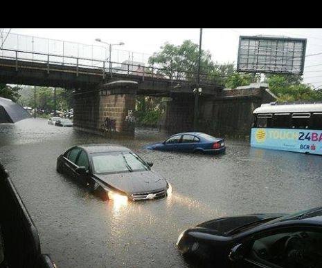 Mașini luate pe sus de ape, în Pasajul Jiul din Timișoara, curți și case inundate. Așa a început dimineața de marți în orașul de pe Bega....