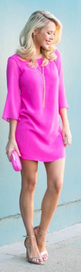 Pink Silk Cocktail Shift Dress
