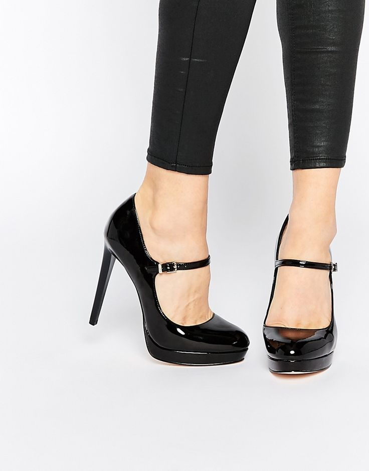 Image 1 of Faith Chrissie Black Patent Mary Jane Shoes