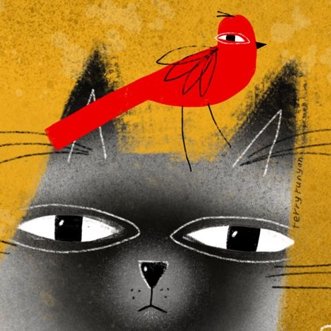 Cat and red bird.