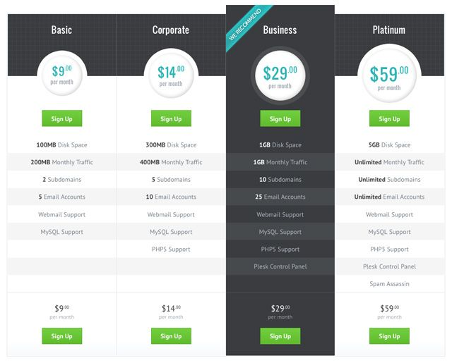 Best Ui  Pricing Table Images On   Pricing Table
