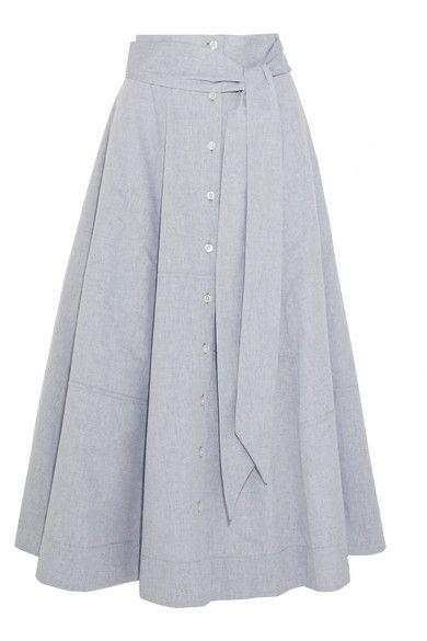 Lisa Marie Fernandez | Patchwork cotton-chambray skirt | NET-A-PORTER.COM