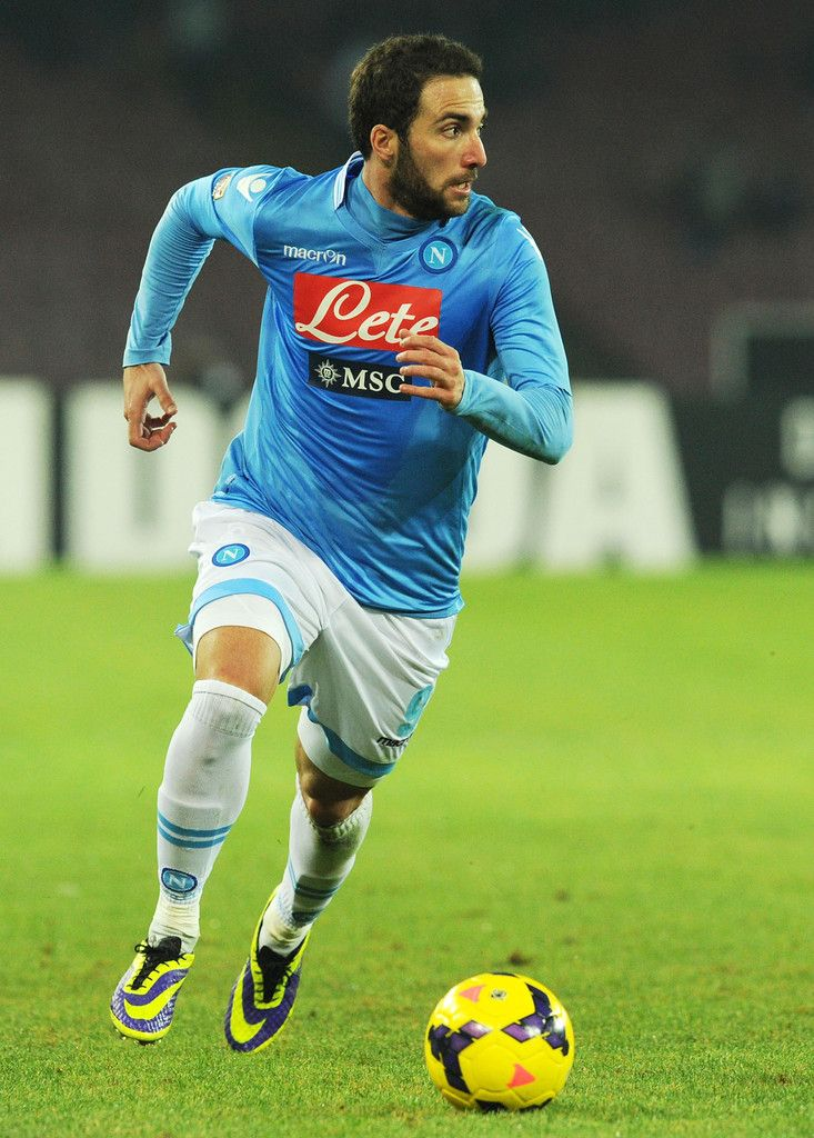 Gonzalo Higuain of Napoli in action during the Serie A match between SSC Napoli and Udinese Calcio at Stadio San Paolo on December 7, 2013 in Naples, Italy.