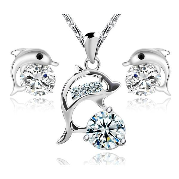 Silver Crystal Dolphin Jewelry Set For Women