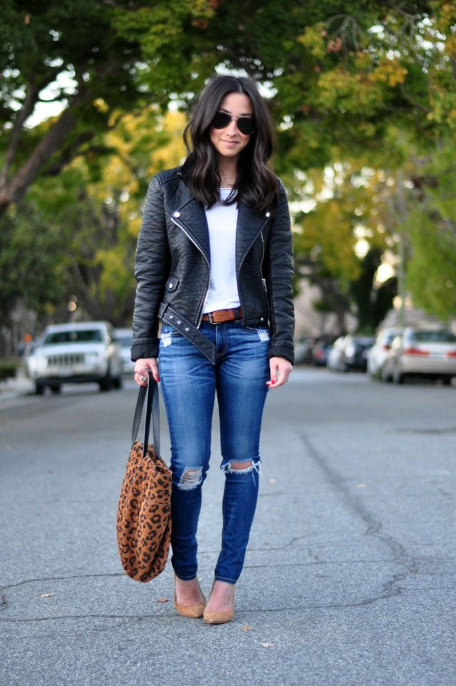 white tee + distressed jeans +moto jacket + nude flats