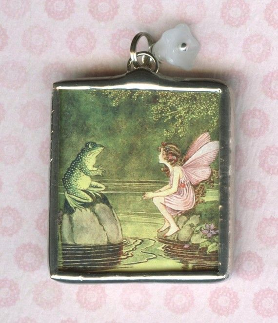 Sweet Pink Fairy and Frog Prince Fairy Tale Pendant