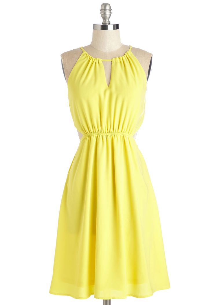 Cheer Comes the Sun Dress. A stunning ensemble centered around this bright yellow dress is on your horizon! #yellow #modcloth