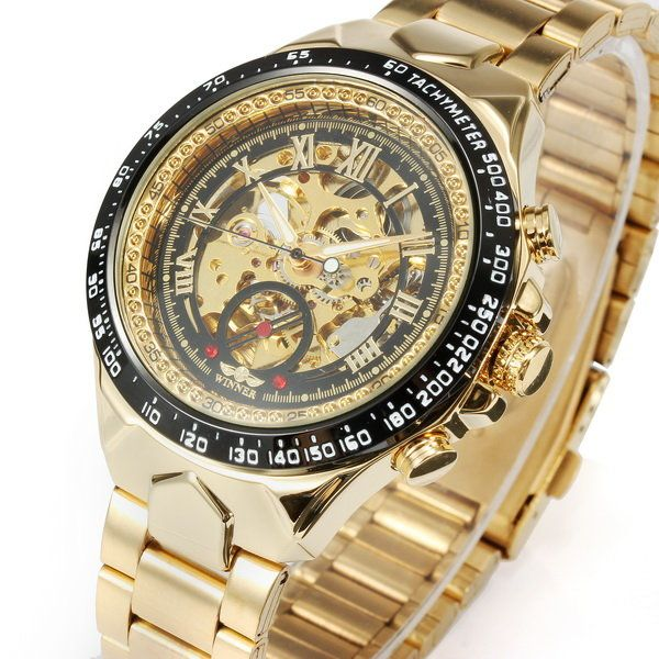 WIN·NER Fashion Shining Roman Numerals Mechanical Watch Luxury Golden Automatic Mens Watch online - NewChic