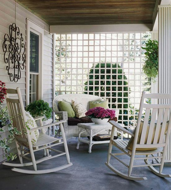 porch lattice: Lattices, Rocks Chairs, Privacy Screens, Summer Porches, Outdoor Rooms, Trellis, Back Porches, Porches Ideas, Front Porches