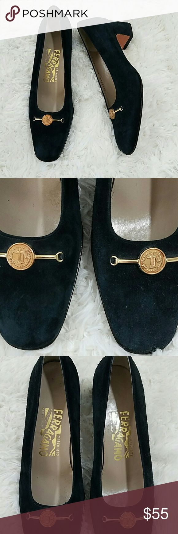 Ferragamo Navy Blue Suede Pumps size 6 Beautiful suede pumps by Ferragamo with some Ferragamo gold coin at the toe.  They are navy blue suede.  They have a square suede heel.   Ferragamo pumps are navy blue. Ferragamo Shoes Heels
