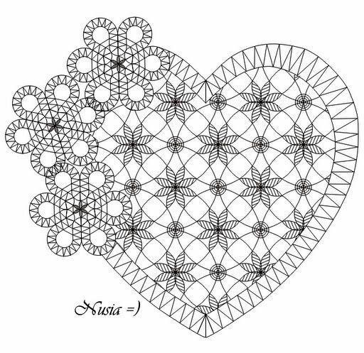 Heart bobbin lace pattern