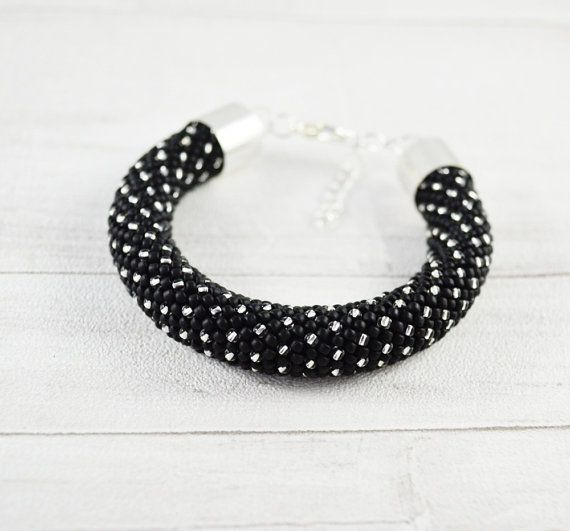 OOAK Dots bracelet Nail bangle black silver by SzkatulkaAmiJewelry