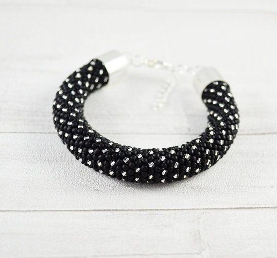 OOAK Dots bracelet Nail bangle black silver by SzkatulkaAmiJewelry