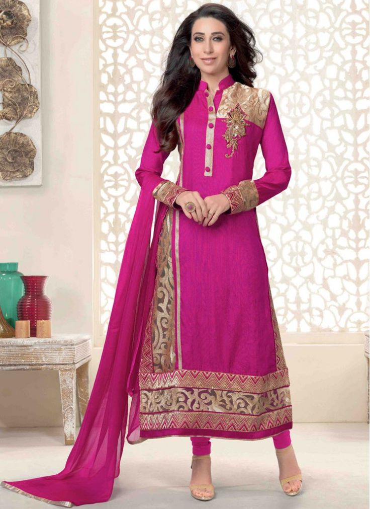 Colour: Pink Collection : Karishma Kapoor, KSD106 Top Fabric : Georgette Bottom Fabric : Heavy Santoon Innar Fabric : Heavy Santoon Dupatta Fabric : Nazneen Top Length : 3.5 mtr Inner Length : 4.5 mtr Bottom Length : (4.5 mtr Dupatt Length : 2.25 mtr Work : Embroidered  Buy at Just 1799/-
