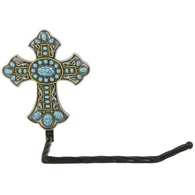 De Leon Collections Turquoise Cross Wall Mount Toilet Paper Holder