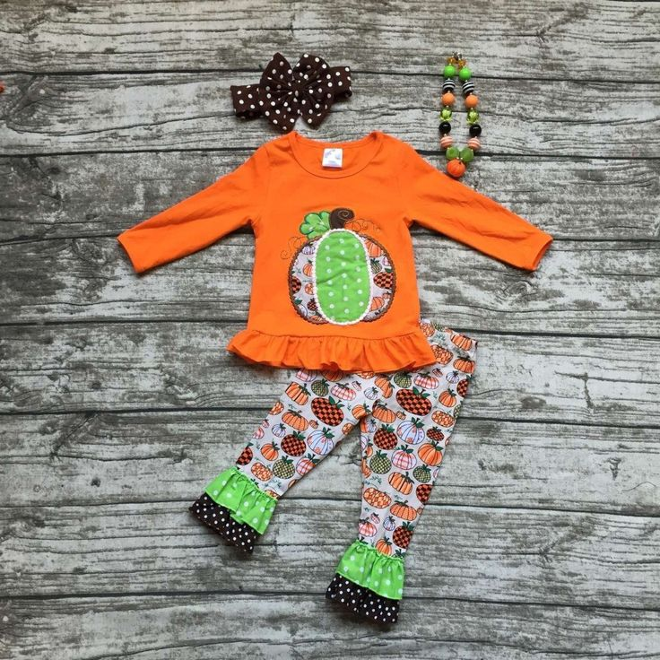 girls pumpkin outfits kids Halloween party clothing girls boutique clothes kids ruffle pant sets with necklace and headband