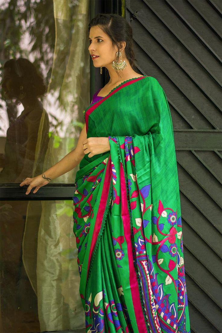 Green Kalamkari printed semi crepe saree with pink border and green lace edging  #saree #blouse #houseofblouse #indian #bollywood #style #green #pink #magenta #purple #semi #crepe #printed #kalamkari