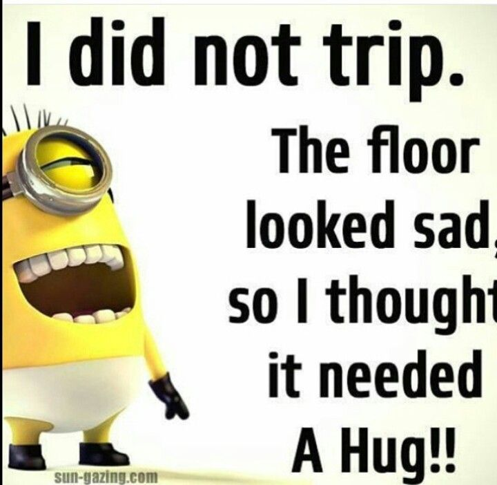 I Did Not Trip The FLOOR Looked Sad, So I Thought It Needed A HUG, Funny  Quotes Quote Jokes Lol Funny Quote Funny Quotes Humor Minions