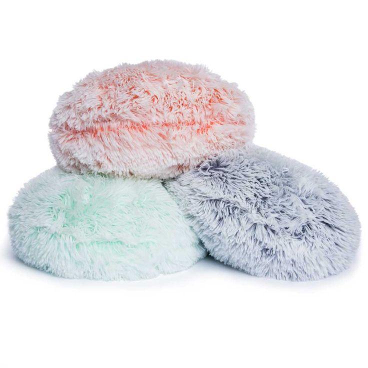 $5 each  round high pile faux fur pillow   Five Below