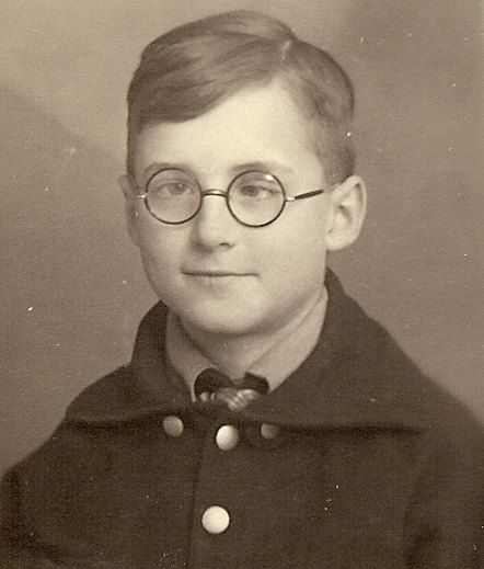 I found Harry Potter's grandfather!    Vintage Photo - Cross-Eyed Boy with Glasses - 1940s Germany