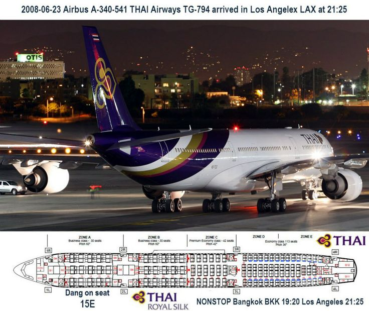 2008-06-23 THAI Airways TG-794 Non-stop Bangkok BKK to Los Angeles LAX. Airbus A-340-500 arriving in Los Angeles LAX.