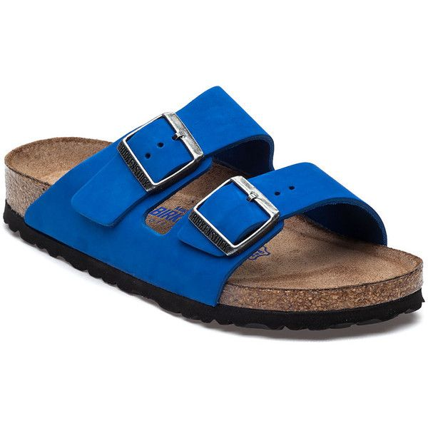 BIRKENSTOCK Arizona Royal Blue Nubuck Sandal ($145) ❤ liked on Polyvore featuring shoes, sandals, royal, nubuck sandals, nubuck shoes, nubuck leather shoes, adjustable strap sandals and royal blue shoes