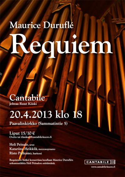 Concert poster for Cantabile choir, spring 2013