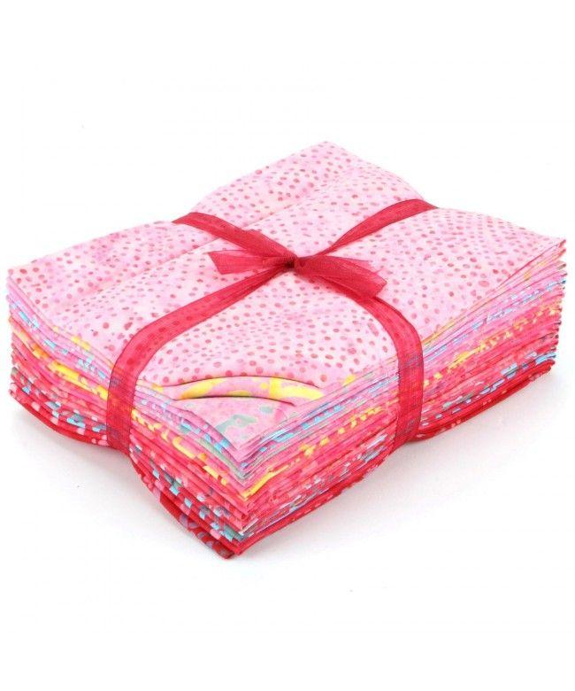 LOUDelephant Cotton Batik Fat Quarter Pre Cut Fabric Bundle - Pinks & Reds