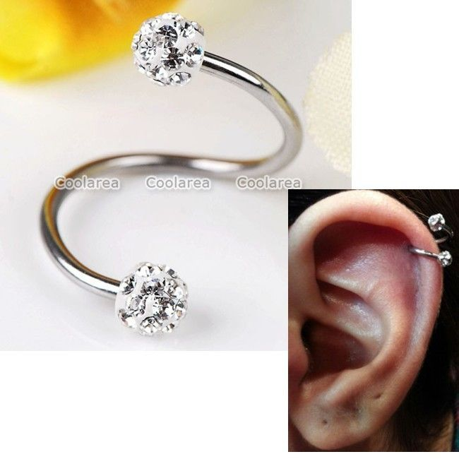 16G Clear CZ Crystal Stainless Steel Flexo Twist Ear Helix Cartilage Earring 1pc #New
