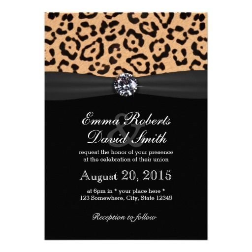 Bright Diamond & Leopard Print Wedding Invite