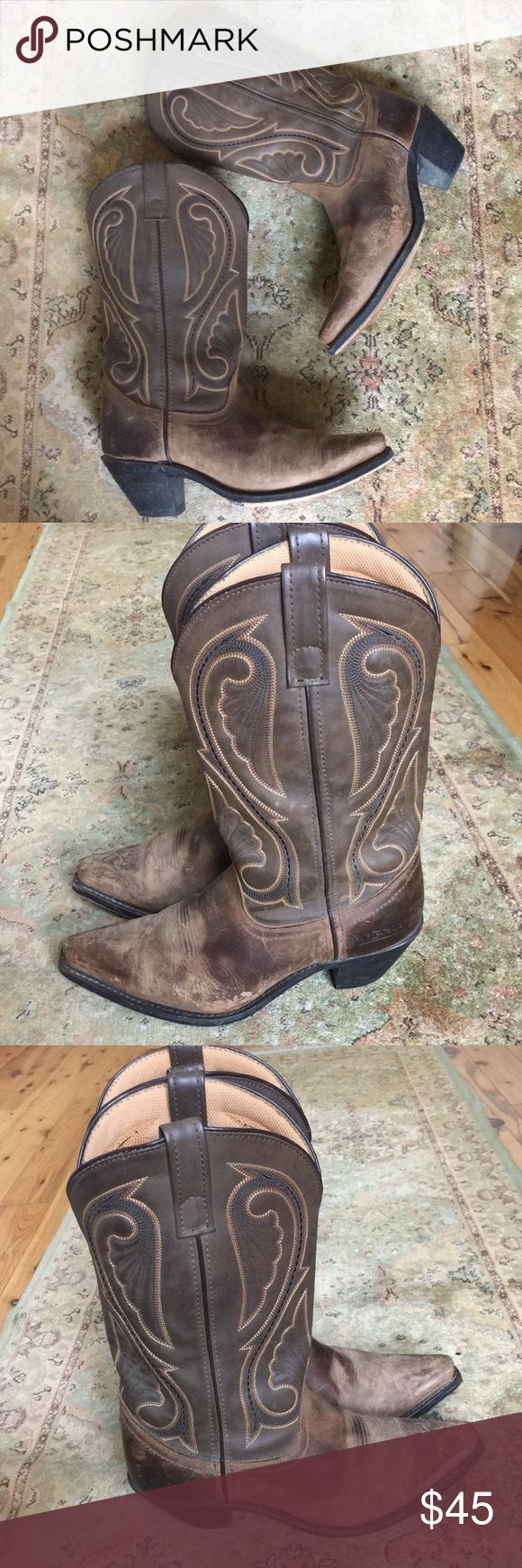 """Laredo cowgirl boots NOT INCLUDED IN 50% OF SALE...MAKE AN OFFER PLEASE!  Cowgirl boots by Laredo in good used condition. Scuffs and wear give them a nice distressed look. Leather, uppers and soles are in good condition. Nice boot to dress up and go to town in▫️Pointed toe▫️Pull tabs▫️2.5"""" heel▫️Leather and man-made materials▫️Retail price written on bottom of one boot Laredo Shoes Heeled Boots"""