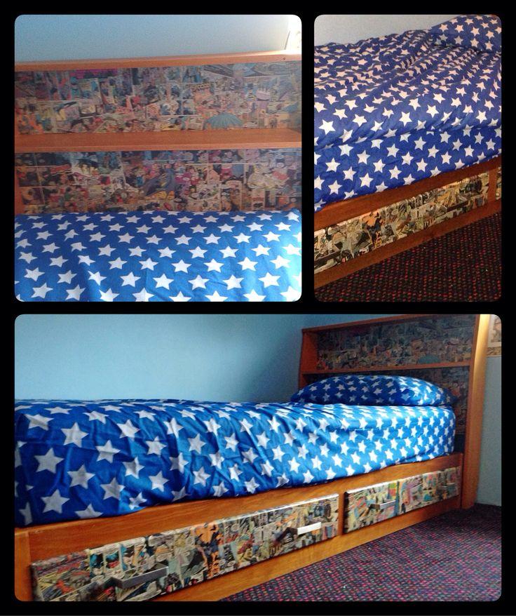 Batman comic strip bed, made for my little man!!!! LOVE IT