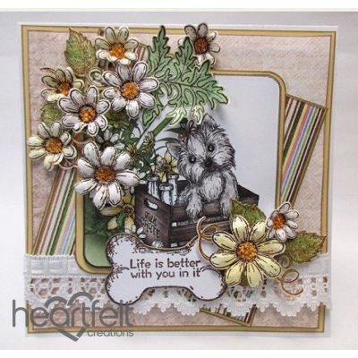 Heartfelt Creations - Crated Puppy And Daisies Project