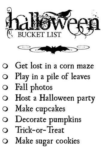 Halloween Bucket List...