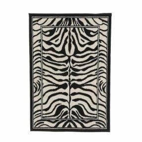 Zone Zebra Print Ebony Area Rug